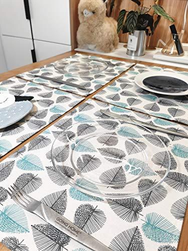 Xlabor Juego de 4 manteles individuales lavables resistentes al agua de algodón y lino, 40 x 30 cm, diseño C