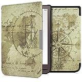 kwmobile Carcasa Compatible con Pocketbook InkPad 3/3 Pro/Color - Funda para Libro electrónico con Solapa - mapamundi Vintage