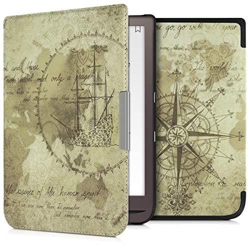 kwmobile Carcasa Compatible con Pocketbook InkPad 3 3 Pro Color - Funda para Libro electrónico con Solapa - mapamundi Vintage