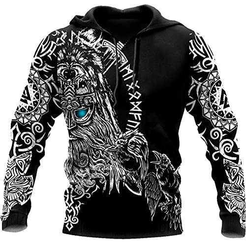 Viking Herren Zip Up Pullover Odin Crow Rune Hoodie Kompass Lucky Amulet Jacke Kapuze Top Streetwear Weicher 3D-Druck Retro Fashion Casual Loose Coat,Black a,XXXXL