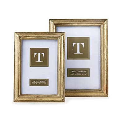 Two's Company Gold Leaf Photo Frames, Includes 2 Sizes, Set of 2