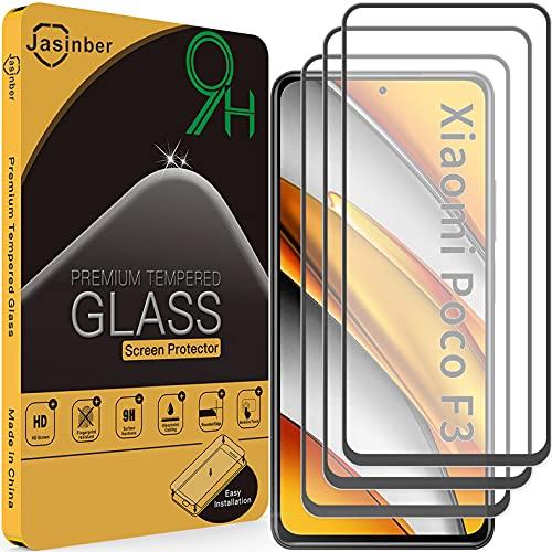 Jasinber 3 Piezas Mica Vidrio Cristal Templado Protector de Pantalla para Poco F3(Negro)