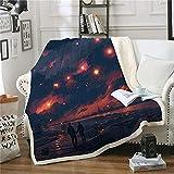 Mantas para Cama de 135 Cielo Estrellado Pareja, Manta para Sofa Caliente Transpirable, Manta de Franela para Oficina Sala de Estar Decoración (Grande, 180x220 cm)
