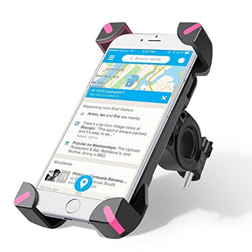 Supporto Bici Smartphone, Wrcibo Supporto Manubrio Universale Bici Moto porta Telefono per Smartphone GPS e altri dispositivi elettronici (Rosa)