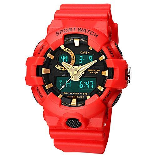 SANDA Reloj Hombre,Nuevo Reloj Deportivo electrónico Impermeable Multifuncional al Aire Libre Reloj Deportivo Comercio electrónico-Rojo
