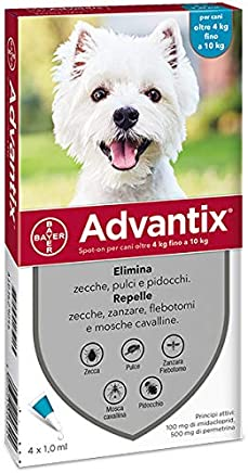 Advantix Spot-on per Cani dai 4Kg ai 10Kg - 4 pipette da 1ml