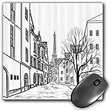 Mouse Pad Gaming Funcional Conjunto de la pasión por los Viajes Alfombrilla de ratón Gruesa Impermeable para Escritorio Calle de París con Edificios de Casas y árboles en la Torre Eiffel del callejón