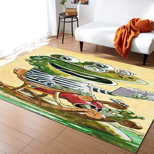 Aomike Indoor Area Rug Doormat- Crocodile with Glasses on The Rocking Chair Reading a Book Contemporary Rug for Living Room/Bedroom/Front Porch/Hallway/Farmhouse, 2'7'x5'