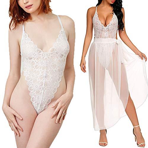 Vestidos Mujer Sexy Conjunto de Lenceria Sexy 2 Piezas Babydoll Encaje Transparente de...