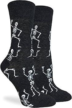 Good Luck Sock Women s Halloween Skeletons Socks - Black Adult Shoe Size 5-9