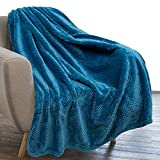 PAVILIA Waffle Textured Fleece Throw Blanket for Couch Sofa, Teal Blue | Soft Plush Velvet Flannel Blanket for Living Room | Fuzzy Lightweight Microfiber Throw for All Seasons, 50 x 60 Inches