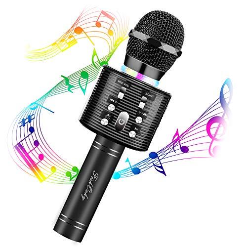 Micrófono Karaoke Bluetooth, FISHOAKY 4 en1 Microfono Inalámbrico Altavoces, Portátil Karaoke para Niños Cantar, Función de Eco, Compatible con Android/iOS o Teléfono Inteligente