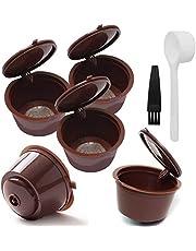 INTVN 5 st återanvändbar kaffekapsel med nätfilterkopp för Dolce Gusto-maskiner påfyllningsbar kapselpod, kompatibla filterkoppar med 1 st plastsked och 1 rengöringsborste (brun)