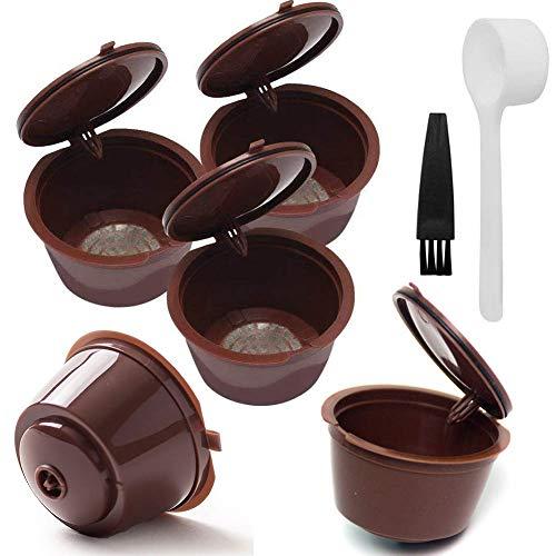 INTN 5 Pcs Capsule per Caffè Riutilizzabile Capsule Dolce Gusto Riutilizzabile Caffè Capsula di Pplastica con 1 Cucchiai in Plastica e 1 Pennelli Brown