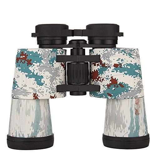 Binoculares 10x50 Binocilars de Metal Telescopio de Camuflaje de Mano de Doble Tubo, Impermeable, a Prueba de Golpes BAK4 FMC Revestimiento Multicapa Caza y Pesca/Trekking/Camuflaje de observaci