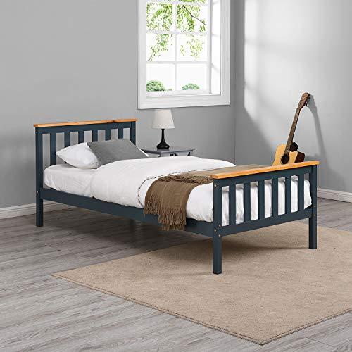 Cherry Tree Furniture Marta FSC-Certified Solid Wooden Shaker Style Bed in Contrasting Colours (Blue, UK Single)