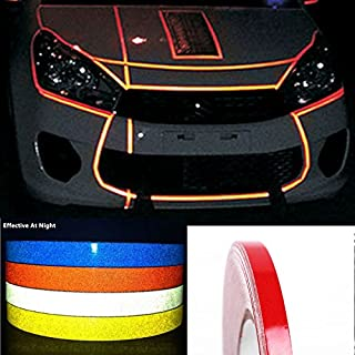 CARLAS DIY Decoration Red Reflective Rim Tape Stripe Wheel Decal Sticker for Car/Truck/Motorcycle 0.4''X30'