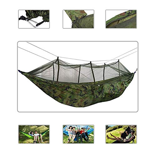 GJZ Portable Camping Hammock with Mosquito Net Ultralight Hanging Bed Strong Bearing Tree Tent Swing Sleeping Lazy Bag