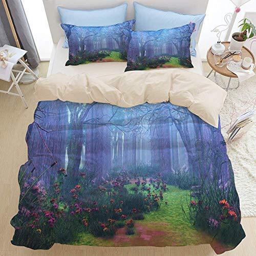 Juego de ropa de cama de 3 piezas, Fantasy Forest Magic Ethereal Mist Floatingered Tree Flower Bloom Weed Green Path, Juego de funda nórdica con cremallera de lujo moderno La última funda de edredón d