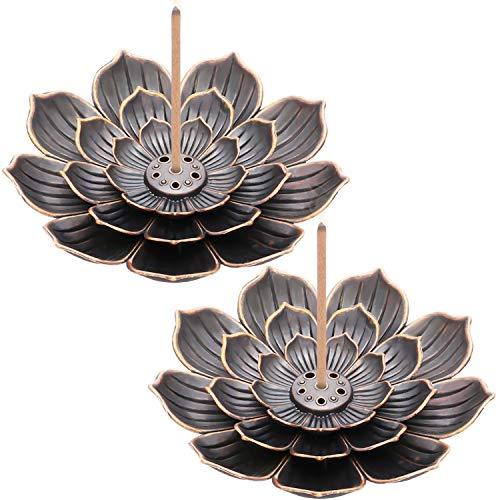 2 Stück Messing Lotushalter Lotusstick Weihrauch Halter Kegel Weihrauch Brenner mit Aschefänger für Haus Büro Teehaus Zubehör