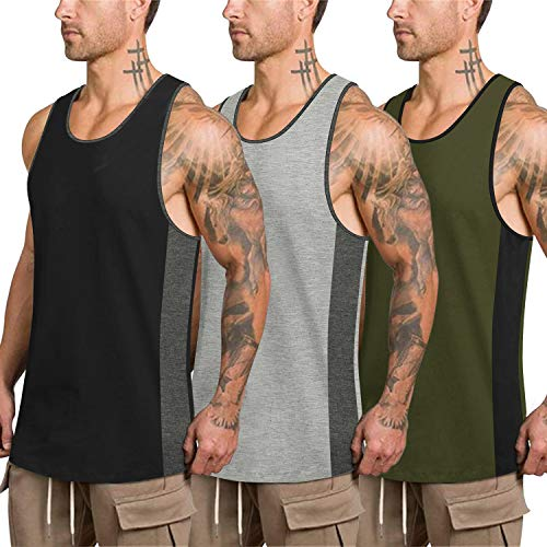 COOFANDY Mens Workout Tank Tops 3 Pack Quick Dry Gym Muscle Tee Fitness Bodybuilding Training Sports Sleeveless T Shirt (Black/Army Green/Light Gray2, Medium)