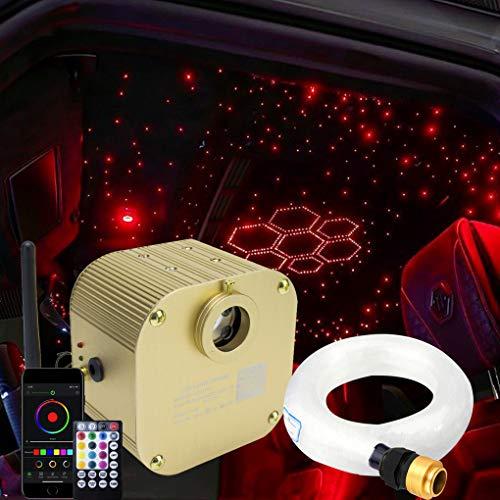 AZIMOM Bluetooth/APP Control 16W Twinkle Fiber Optic Lights Star Ceiling Lighting Kits 550pcs0.03in13.1ft Fiber Strands RGBW Music Sound Control Light Engine Home Indoor Car Interior Decor