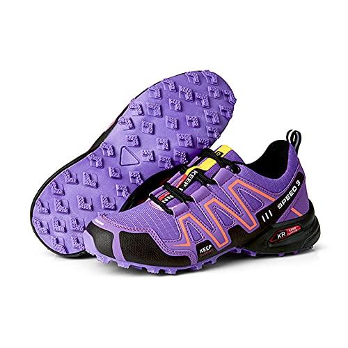 Scarpe da Ciclismo da Donna,MTB Cycling Shoes Leggera per Women's,Scarpe Sportive Antiscivolo Impermeabili Scarpe da Corsa Scarpe da Cycling Resistenti,Viola,41