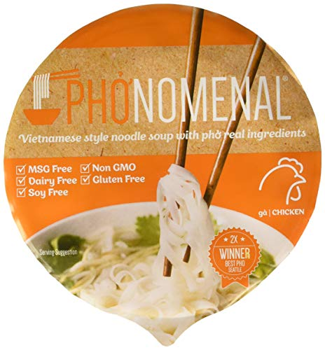 Pho'nomenal Bowl Instant Pho Noodles Gluten Free Low Sodium Vietnamese Chicken Soup, No MSG, Non GMO, No Soy 2.1 oz. (6 Bowl Pack)