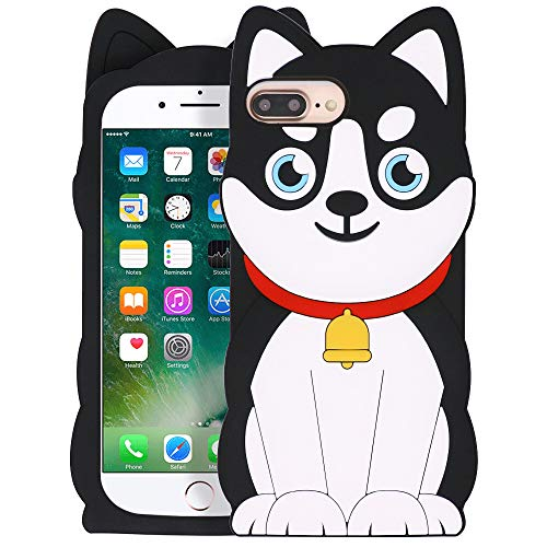 """YONOCOSTA Cute iPhone 7 Plus Case, iPhone 8 Plus Case, Funny 3D Cartoon Animals Husky Dog Pets Shaped Soft Silicone Full Protection Shockproof Case Cover for iPhone 7 Plus/iPhone 8 Plus (5.5"""" Inch)"""