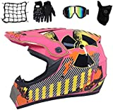 Dljyy Dljyy - Casco da motocross per bambini, completo di casco da motocross, casco integrale da...