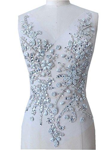 Pure hand gemaakte kristallen patches Naai op strass Applique Knit Trim 50 x 30 cm jurk Accessoire ZILVER