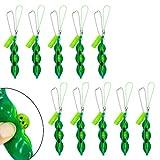 Rubywoo&chili 20 Stücke Fidget Toys Squeeze-a-Bean, Sojabohne Schlüsselanhänger ,Reduziert Angst und Stress, Zappelspielzeug, Handykette mit Erbsen (grün)