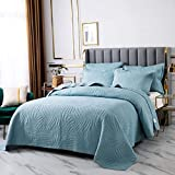 Doppelte Gesteppte Tagesdecke Aus Baumwolle Einfache Und Elegante Stickerei Waschbare Bettueberwurf Bedspread 240X260Cm Mit 2 KissenbezüGen 50X70Cm Sommer Klimaanlage Quilt,Blue-250X270CM