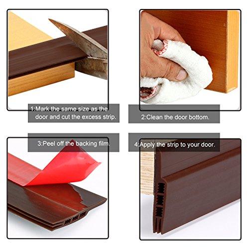 MAGZO Door Weather Stripping Bottom, 2 Inch Width X 47 Inch Length Door Draft Stopper Door Sound Blocker Weather Stripping for Doors(Brown)