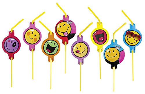 amscan - 552430 - 8 Pailles Flexibles Smiley Express
