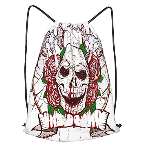 Bolsa Cuerdas con cordón impermeable Unisex,Black Christmas Skull Symbol Includes Clean And Grunge Versions,LigeroCasual ,Deporte Gimnasio Mochilas