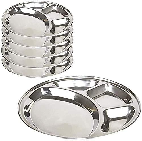 Paquete de 6 platos de cocina Thali de acero inoxidable con forma redonda de 4 secciones, bandeja de desorden, juego de vajilla, compartimiento, compartimiento, platos de fiesta (13 pulgadas)