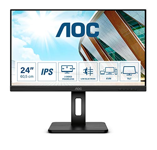 AOC 24P2C Monitor - Home Office USB-C, Full HD 1920x1080, 75Hz, AdaptiveSync, Altavoces, VESA, Altura Regulable (HDMI, Displayport 1.2, USB-C, 4xUSB 3.2)