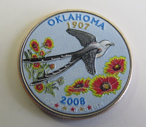 2008 Various Mint Marks Oklahoma State Colorized Quarter Choice Uncirculated
