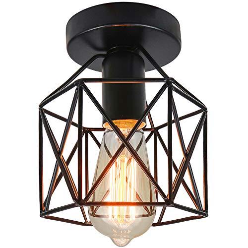 Vintage Deckenleuchte Industrial Deckenlampe Retro Lampen Käfig Kronleuchter mit E27 Fassung Schwarz.