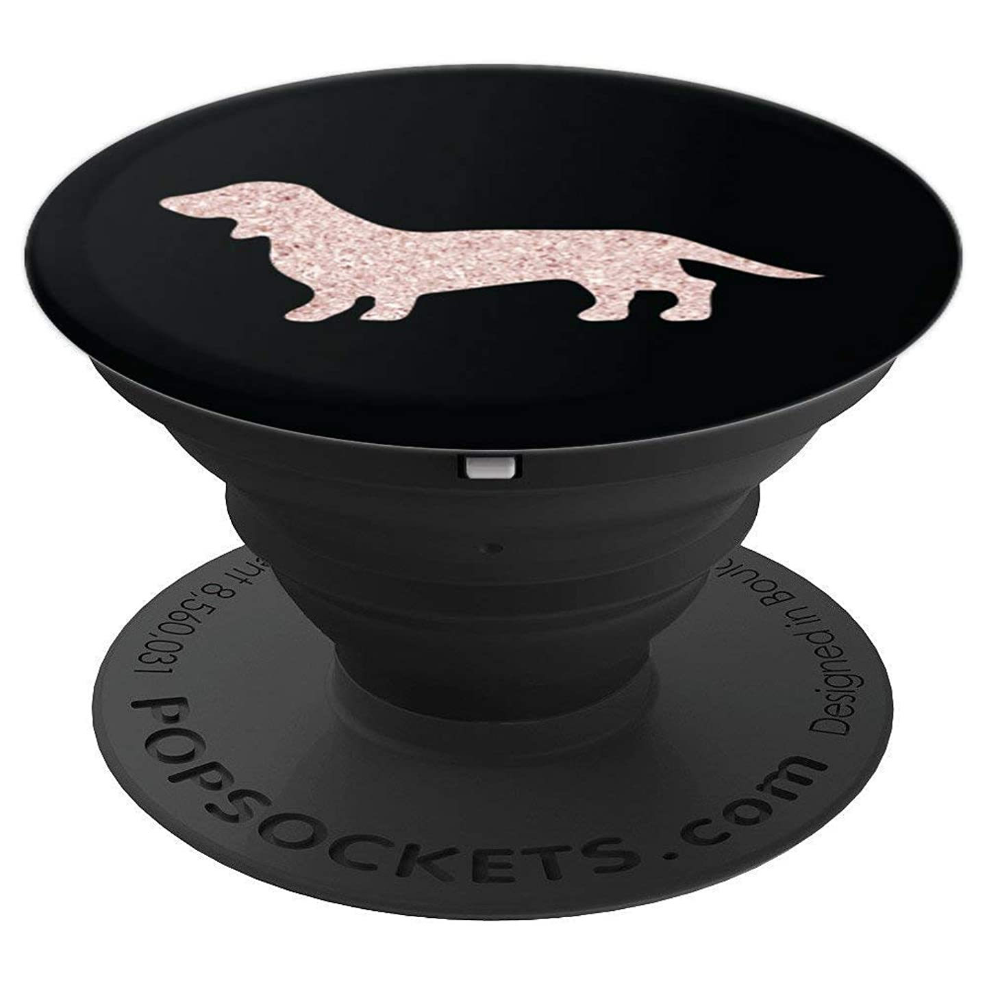 Rose Gold Daschund Dog on a Beautiful Black Background - PopSockets Grip and Stand for Phones and Tablets