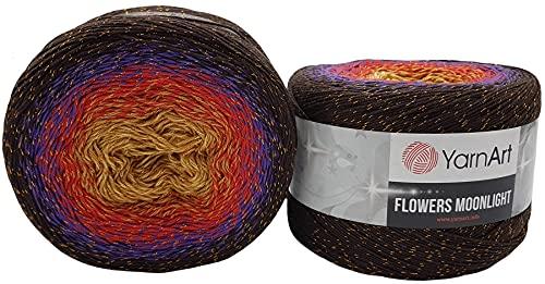 YarnArt Flowers - Ovillo de lana (500 g, 53% algodón, 500 g), multicolor (marrón salmón terra...