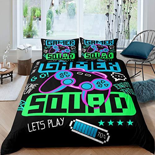 Juego de funda de edredón Gamepad con control de videojuegos, juego de cama para niñas, adolescentes, juegos, funda de edredón para...