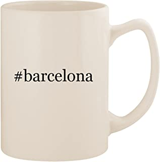 #barcelona - White Hashtag 14oz Ceramic Statesman Coffee Mug Cup