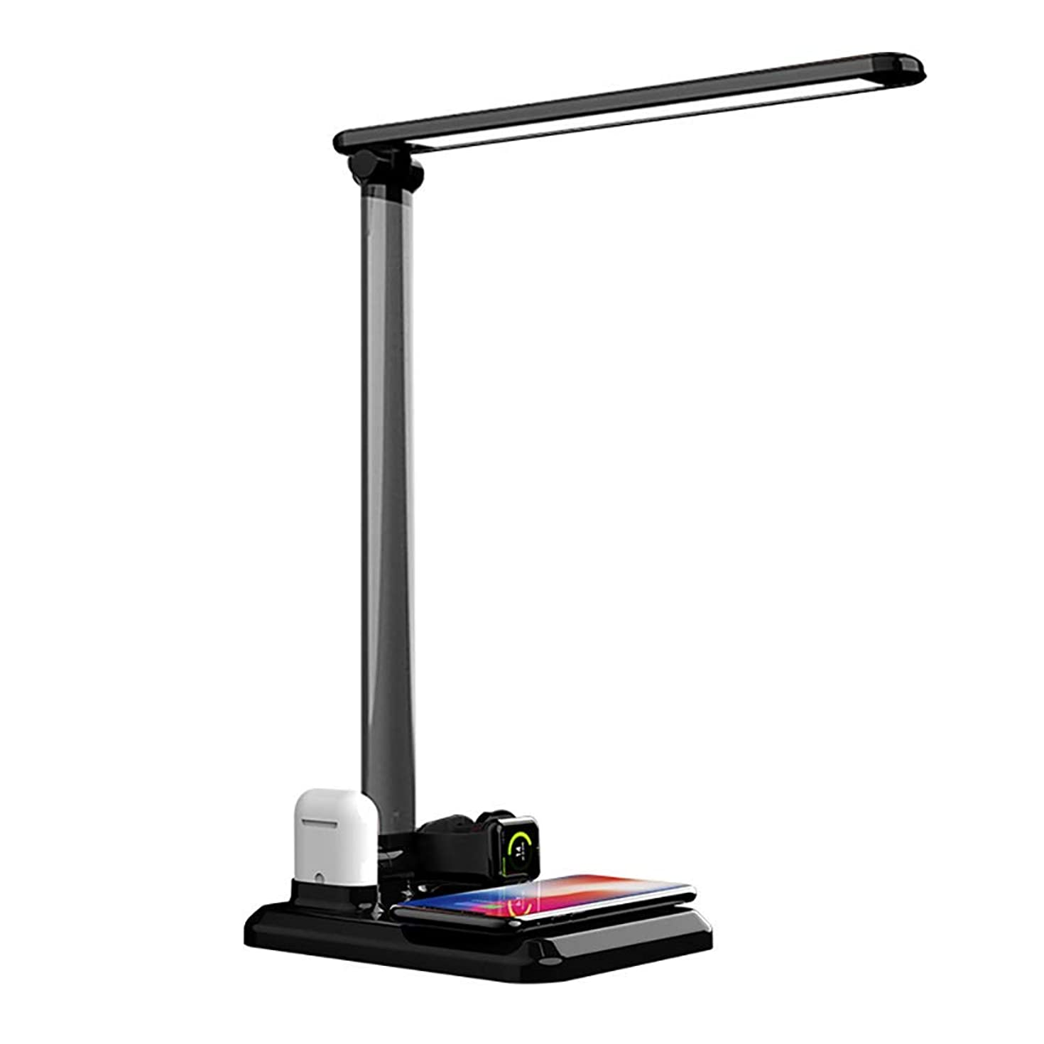 EEkiiqi Mulfunction LED Desk Lamp Table Lamps with Wireless Charger Fast Charging for Phone XS Max/Apple Watch/Airpods for Officer/Worker,Touch Control,Dimmable,Adjustable (Black)