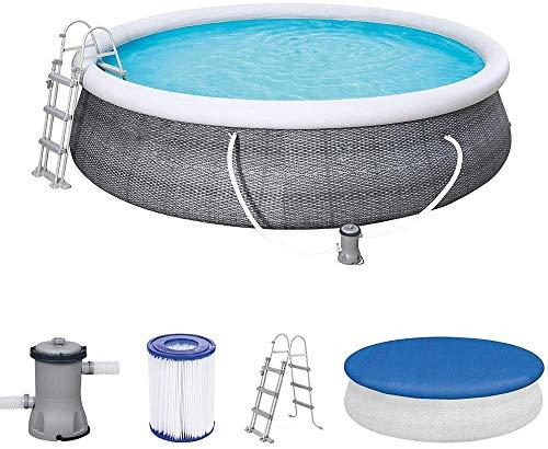 yanzong Fast Set Pool 457x457x107 cm, Gartenpool selbstaufbauend mit aufblasbarem Luftring rund im Komplett Set, mit Filterpumpe, Sicherheitsleiter und Abdeckplane