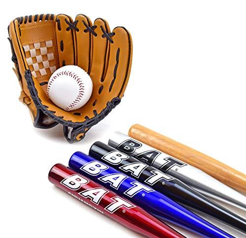 TruWare Baseball Set Baseballschläger + Handschuh + Ball Einsteiger-Set (Rot, 25 Zoll)
