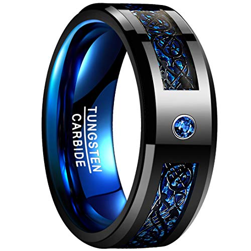 Black celtic dragon, Blue cubic zirconia, Blue carbon fiber, Blue plated inner, black finish and 8mm width Genuine tungsten carbide, durable and scratch-resistance. Free Nuncad velvet ring box, value is $9.99, saves your giftwrap service fee and help...