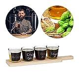 Relaxdays Kit de degustación de Cerveza, Cuatro Vasos para describir con Tiza, Soporte de Madera, 200 ml, Marrón