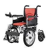 Silla de ruedas eléctrica plegable para adultos mayores discapacitados Batería compacta de iones de litio y silla eléctrica grande Rueda delantera Scooter móvil con alcance de 15 millas,Rojo,20AH